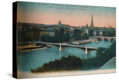 Panorama of the River Seine with the Eiffel Tower in the distance, Paris, c1920-Unknown-Stretched Canvas Print
