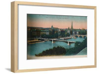 Panorama of the River Seine with the Eiffel Tower in the distance, Paris, c1920-Unknown-Framed Giclee Print