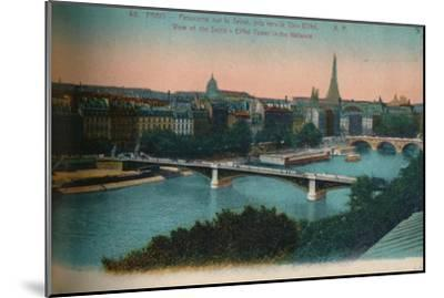 Panorama of the River Seine with the Eiffel Tower in the distance, Paris, c1920-Unknown-Mounted Giclee Print