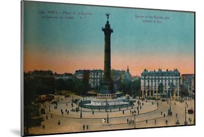 The Place de la Bastille and the July Column, Paris, c1920-Unknown-Mounted Giclee Print