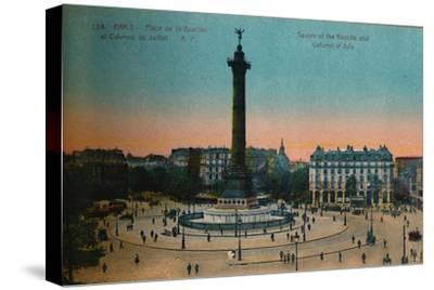 The Place de la Bastille and the July Column, Paris, c1920-Unknown-Stretched Canvas Print