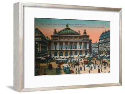 The Place de l'Opéra, Metro Station and L'Opéra Garnier, Paris, c1920-Unknown-Framed Giclee Print