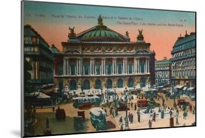 The Place de l'Opéra, Metro Station and L'Opéra Garnier, Paris, c1920-Unknown-Mounted Giclee Print