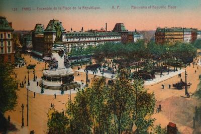 Panorama of the Place de la Republique, Paris, c1920-Unknown-Framed Giclee Print