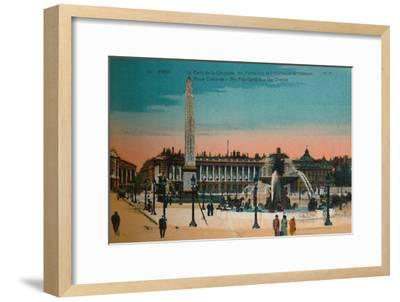 Place de la Concorde - The Fountains and the Luxor Obelisk, Paris, c1920-Unknown-Framed Giclee Print