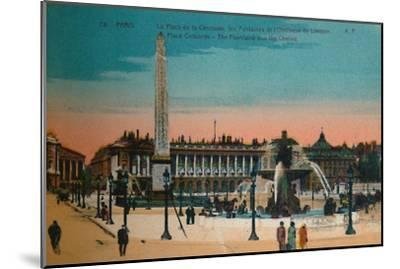 Place de la Concorde - The Fountains and the Luxor Obelisk, Paris, c1920-Unknown-Mounted Giclee Print