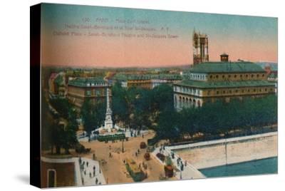 'The Place du Châtelet - Théâtre Sarah-Bernhardt and the Tour Saint-Jacques, c1920-Unknown-Stretched Canvas Print