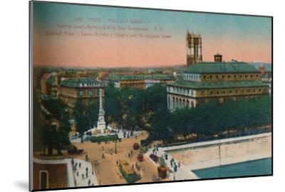 'The Place du Châtelet - Théâtre Sarah-Bernhardt and the Tour Saint-Jacques, c1920-Unknown-Mounted Giclee Print