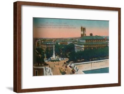 'The Place du Châtelet - Théâtre Sarah-Bernhardt and the Tour Saint-Jacques, c1920-Unknown-Framed Giclee Print