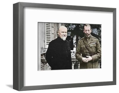 'His Majesty with President Poincare at The British General Headquarters in France', c1916, (1935)-Unknown-Framed Photographic Print