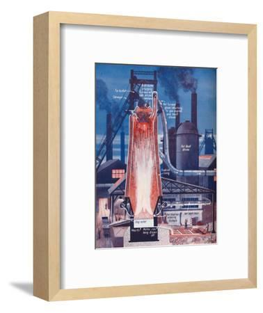 'Making Iron in a Modern Blast Furnace', 1935-Unknown-Framed Giclee Print