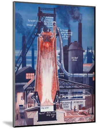 'Making Iron in a Modern Blast Furnace', 1935-Unknown-Mounted Giclee Print