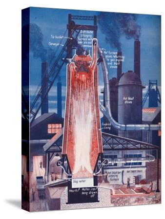 'Making Iron in a Modern Blast Furnace', 1935-Unknown-Stretched Canvas Print