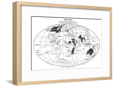 'The World with the British Possessions Indicated in Solid Black and the Islands Underlined', 1924-Unknown-Framed Giclee Print