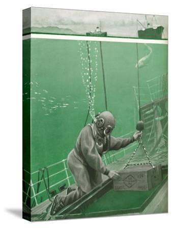 'A Diver Working Under Enormous Pressure', 1935-Unknown-Stretched Canvas Print