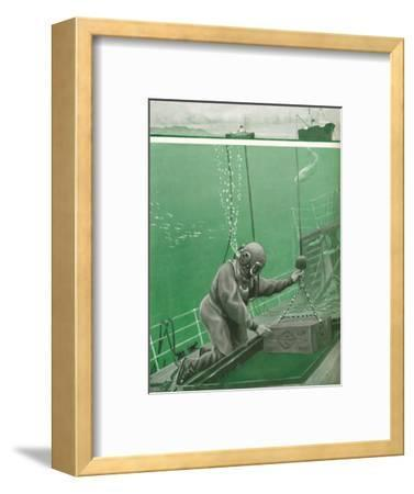 'A Diver Working Under Enormous Pressure', 1935-Unknown-Framed Giclee Print