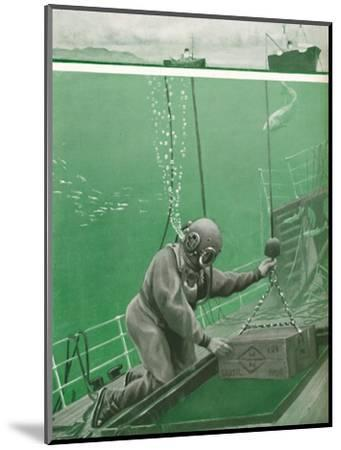 'A Diver Working Under Enormous Pressure', 1935-Unknown-Mounted Giclee Print