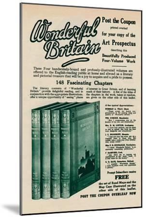 'Wonderful Britain book advertisement', 1935-Unknown-Mounted Giclee Print
