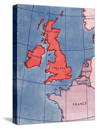 'The British Isles and France, Belgium and Holland at Noon in mid-summer', 1935-Unknown-Stretched Canvas Print