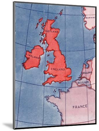 'The British Isles and France, Belgium and Holland at Noon in mid-summer', 1935-Unknown-Mounted Giclee Print
