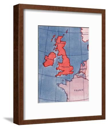 'The British Isles and France, Belgium and Holland at Noon in mid-summer', 1935-Unknown-Framed Giclee Print