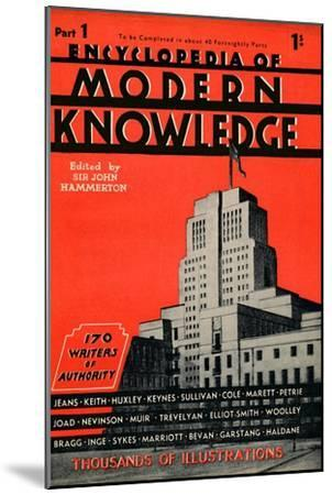 'Encyclopedia of Modern Knowledge Part 1 advertisement', 1935-Unknown-Mounted Giclee Print