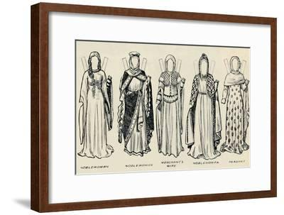 'The Gallery of Historic Costume: The Dresses Worn in the Days of Richard I', c1934-Unknown-Framed Giclee Print