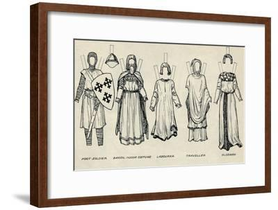 'The Gallery of British Costume: Types of Dress in Early Plantagenet Times', c1934-Unknown-Framed Giclee Print