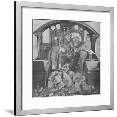 'On the Footplate of a Great Western Express Engine', 1926-Unknown-Framed Photographic Print