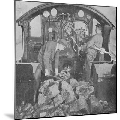 'On the Footplate of a Great Western Express Engine', 1926-Unknown-Mounted Photographic Print