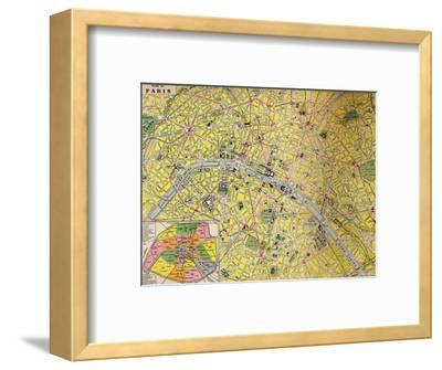 'Plan of Paris - Central District of the City of Light', c1930s-Unknown-Framed Giclee Print