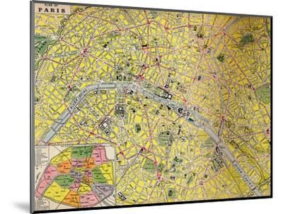 'Plan of Paris - Central District of the City of Light', c1930s-Unknown-Mounted Giclee Print