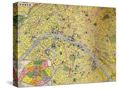 'Plan of Paris - Central District of the City of Light', c1930s-Unknown-Stretched Canvas Print