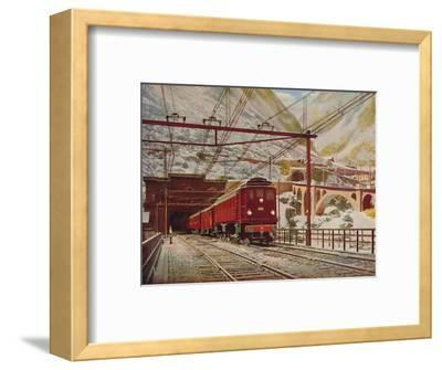 'Swiss Express Leaving The Great St. Gotthard Tunnel', 1926-Unknown-Framed Giclee Print