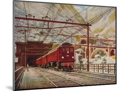 'Swiss Express Leaving The Great St. Gotthard Tunnel', 1926-Unknown-Mounted Giclee Print