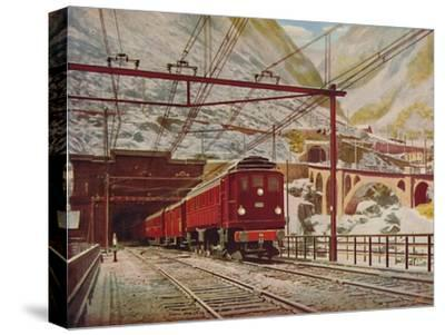 'Swiss Express Leaving The Great St. Gotthard Tunnel', 1926-Unknown-Stretched Canvas Print