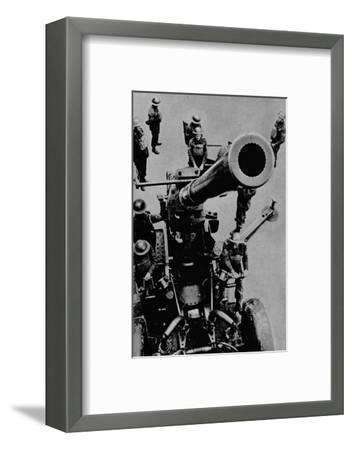On target! - A 3.7 inch gun detachment at battle practice, 1943-Unknown-Framed Photographic Print