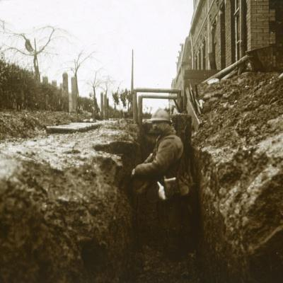 French soldier in trenches, c1914-c1918-Unknown-Framed Photographic Print