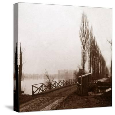 Bridge on the River Ailette, northern France, c1918-Unknown-Stretched Canvas Print