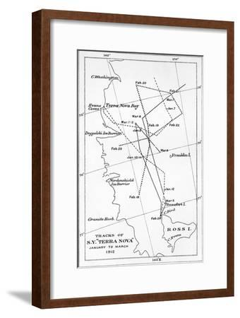 'Tracks of S.Y. Terra Nova - January to March 1912', 1913-Unknown-Framed Giclee Print