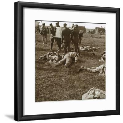 Burying bodies, Sainte-Marie-à-Py, northern France, c1914-c1918-Unknown-Framed Photographic Print