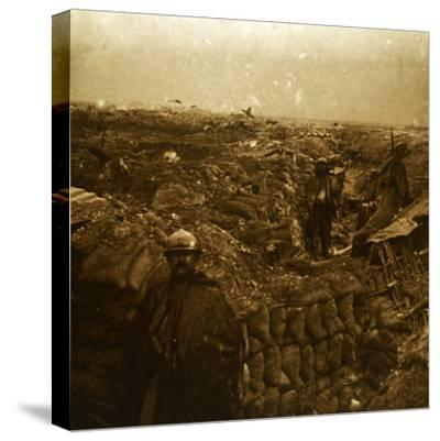 Trenches on the front line, Moulin de Souain, northern France, c1915-Unknown-Stretched Canvas Print