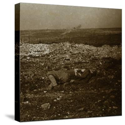 Body with barrage fire in the distance, c1914-c1918-Unknown-Stretched Canvas Print