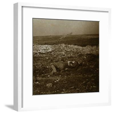 Body with barrage fire in the distance, c1914-c1918-Unknown-Framed Photographic Print