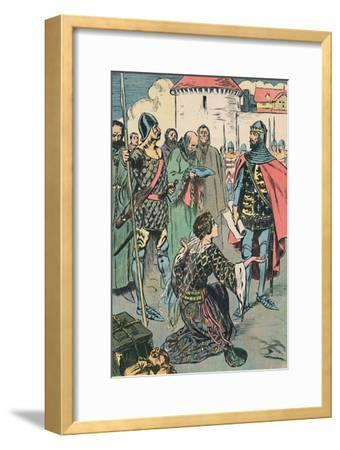 'Queen Philippa Pleads for the Men of Calais', c1907-Unknown-Framed Giclee Print