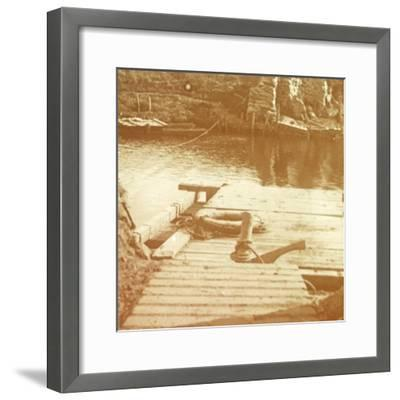 Post on the riverbank, Diksmuide, Belgium c1914-c1918-Unknown-Framed Photographic Print