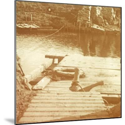 Post on the riverbank, Diksmuide, Belgium c1914-c1918-Unknown-Mounted Photographic Print