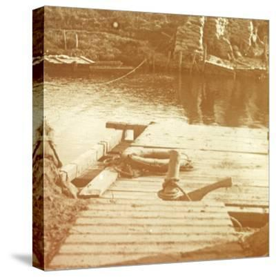 Post on the riverbank, Diksmuide, Belgium c1914-c1918-Unknown-Stretched Canvas Print