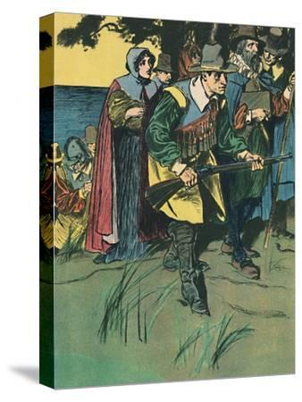'The Pilgrim Fathers Entering The New World', c1907-Unknown-Stretched Canvas Print