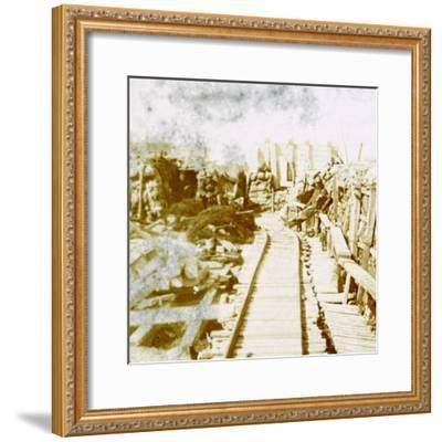Trenches and railway line, Yser south, Diksmuide, Belgium, c1914-c1918-Unknown-Framed Photographic Print